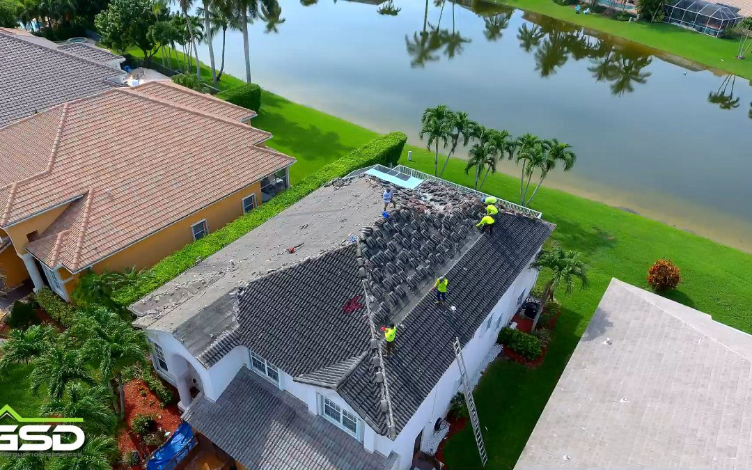 Drone footage of a tear off and install